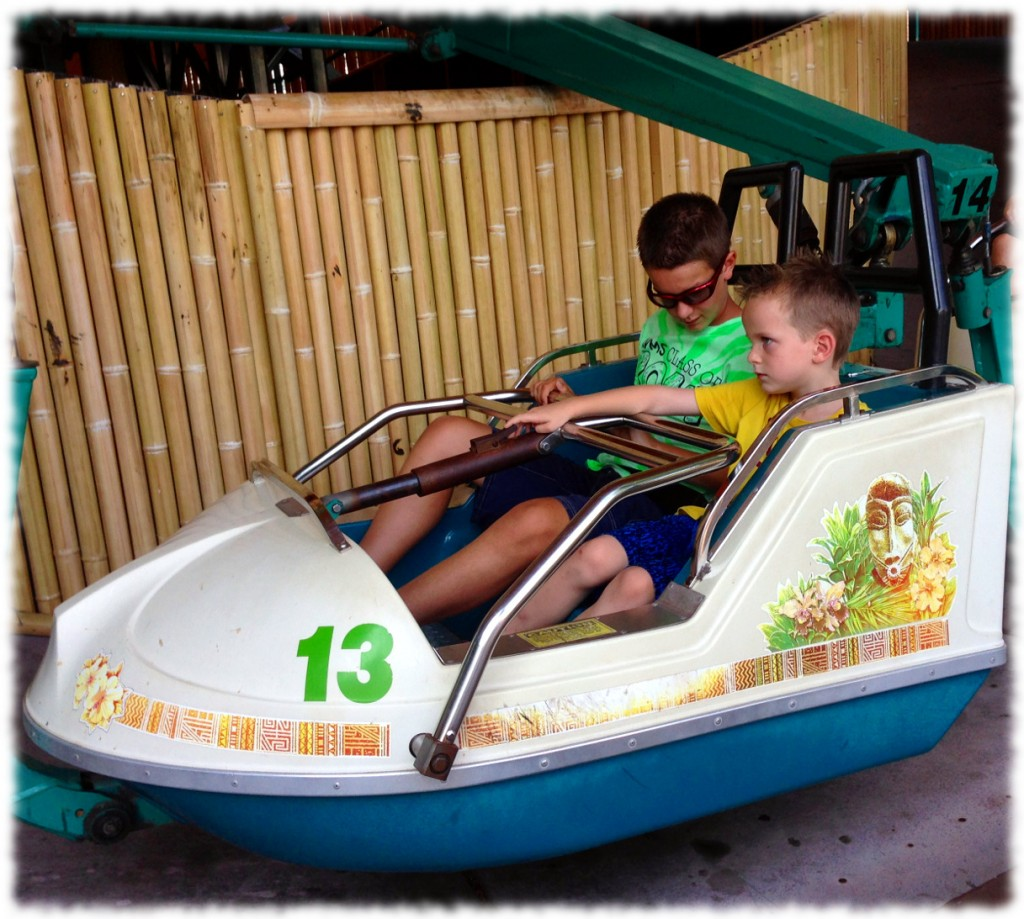 "Will and his cousin, Chase, on one of the smaller rides. Will became Chase's ""best buddy"" over the past week."
