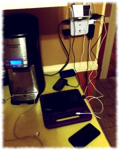 A fraction of the electronics, charging in our current charging station - the kitchen counter.