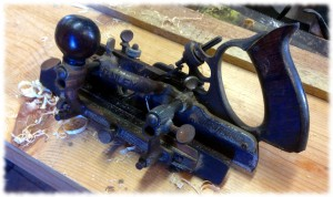 "My Stanley No. 45 combination plane after making a 1/4"" rabbet on a piece of scrap pine."