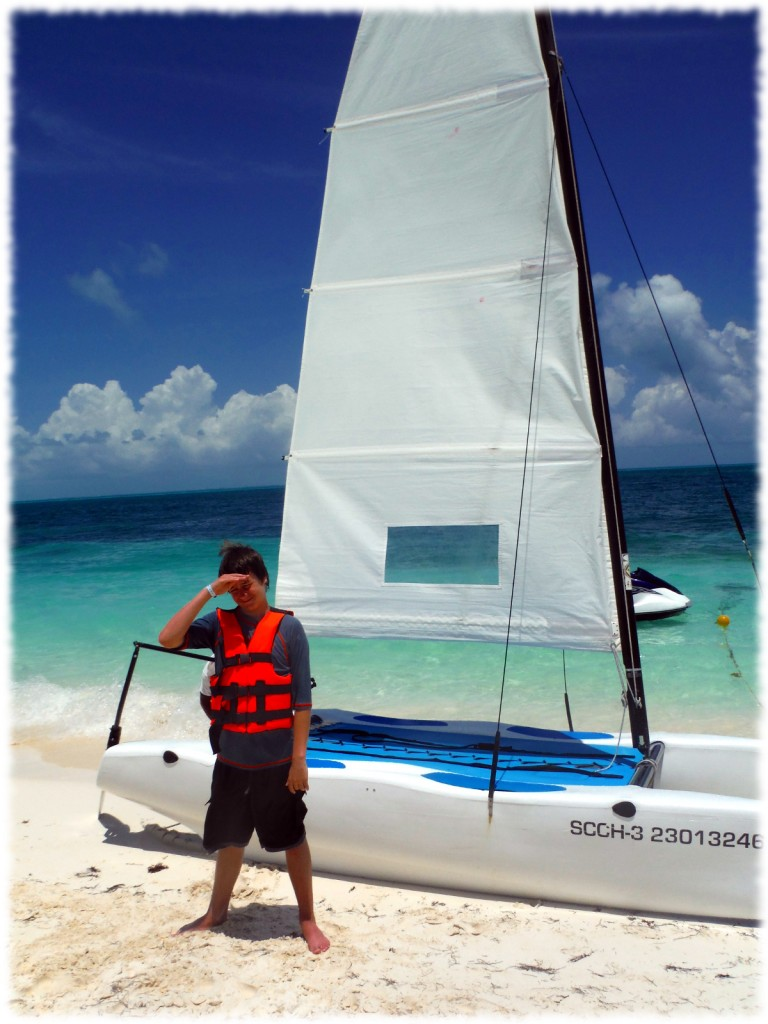 On Tuesday, Will and I borrowed one of the resort's catamarans for a short sail. Despite many hours sailing our own sailboat, a water depth of maybe 10 feet and lifejackets, Will clung to the middle of the boat for the first 20 minutes sailing.