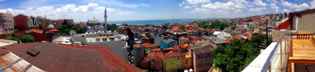 The view of Istanbul from the roof of my hotel