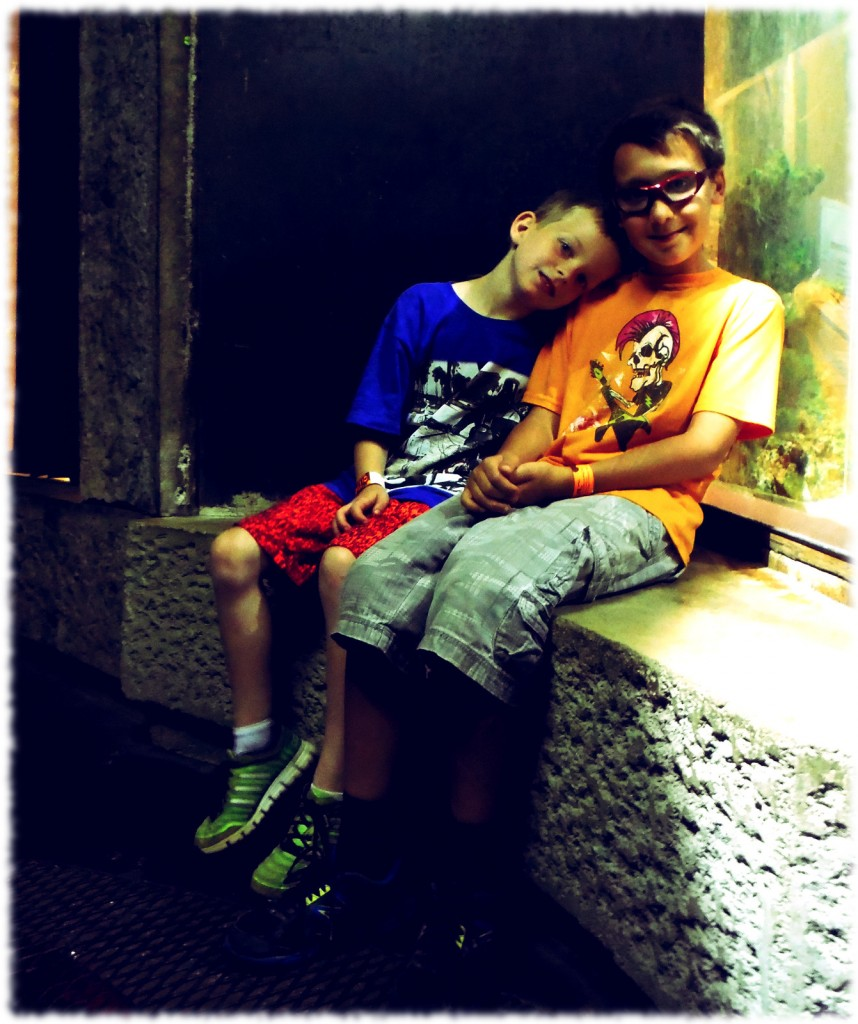 Ben and Brady taking a break at the City Museum
