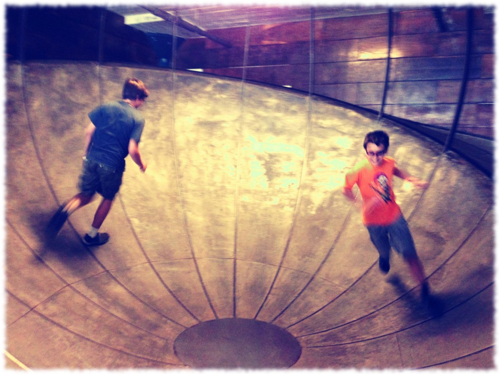 Will and Ben in motion (as always). City Museum,St. Louis.