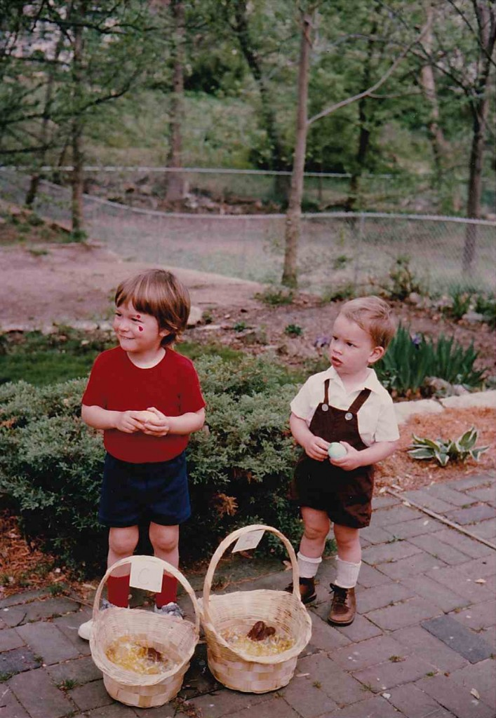 Chuck (2 1/2) and Bill (1 1/2), Easter 1976