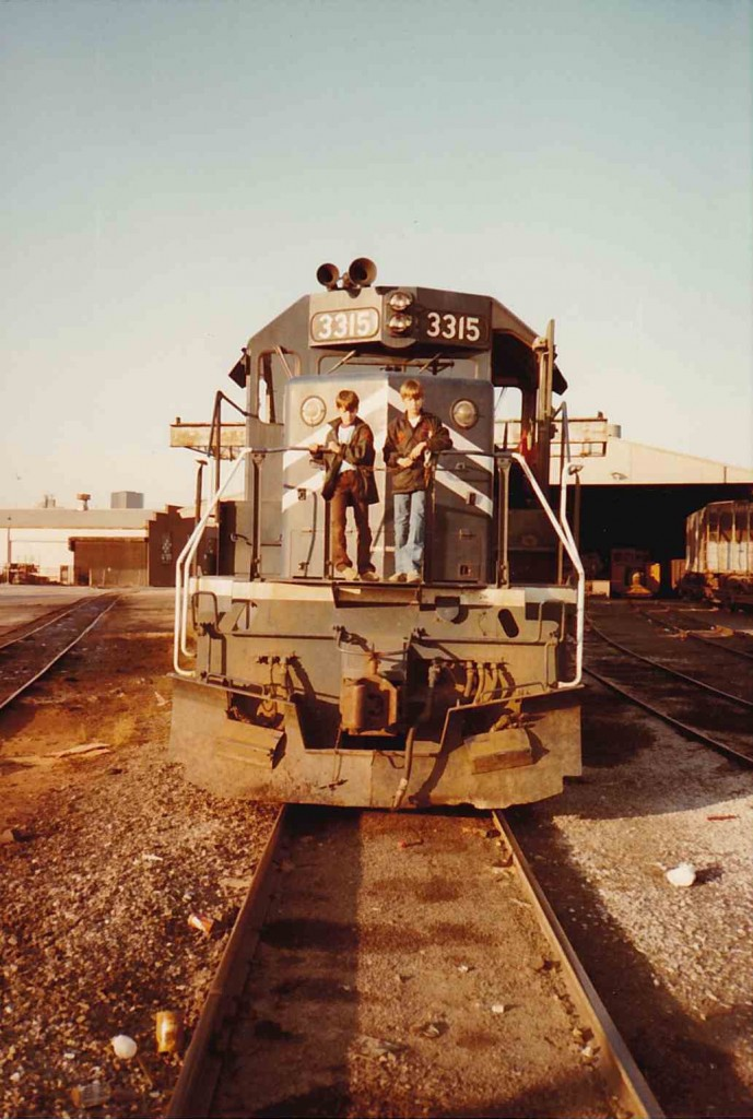 Chuck and Bill on front of train, Fall 1982