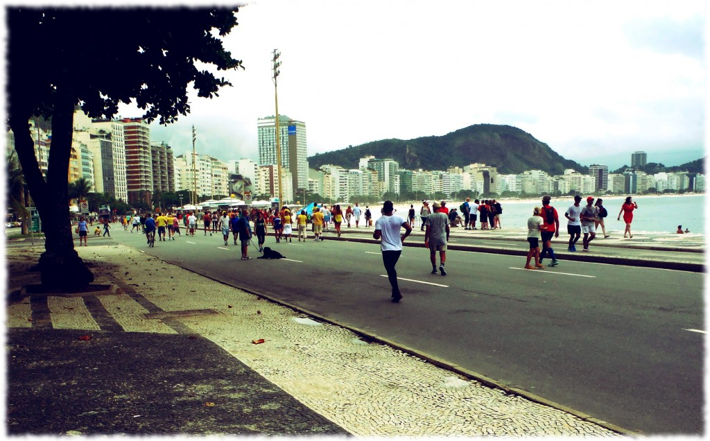 Protesters heading to Post 5, Copacabana beach for an anti-government protest.