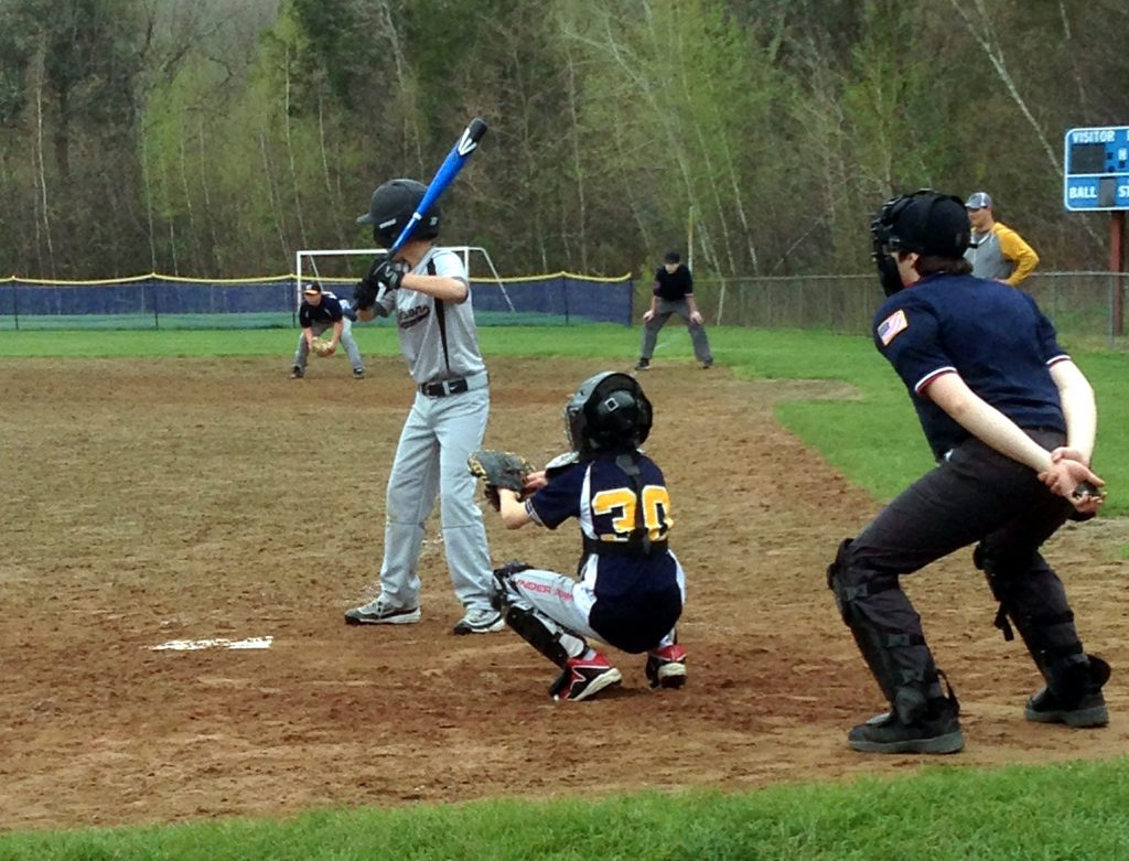 Ben at bat. I think he was 3-2 at this time and shortly made first on a walk.