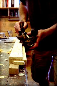Using the Stanley 45 as a plow - cutting a rabbet along the grain on a piece of antique pine.